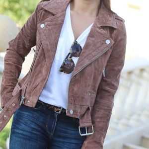 Blank NYC Leather Suede Brown Morning Moto Jacket